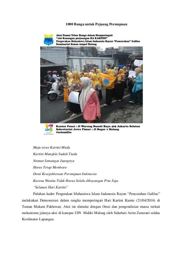 1000 Bunga untuk Pejuang Perempuan Maju terus Kartini Muda Kartini Mungkin Sudah Tiada Namun Semangat Juangnya Harus Tetap...