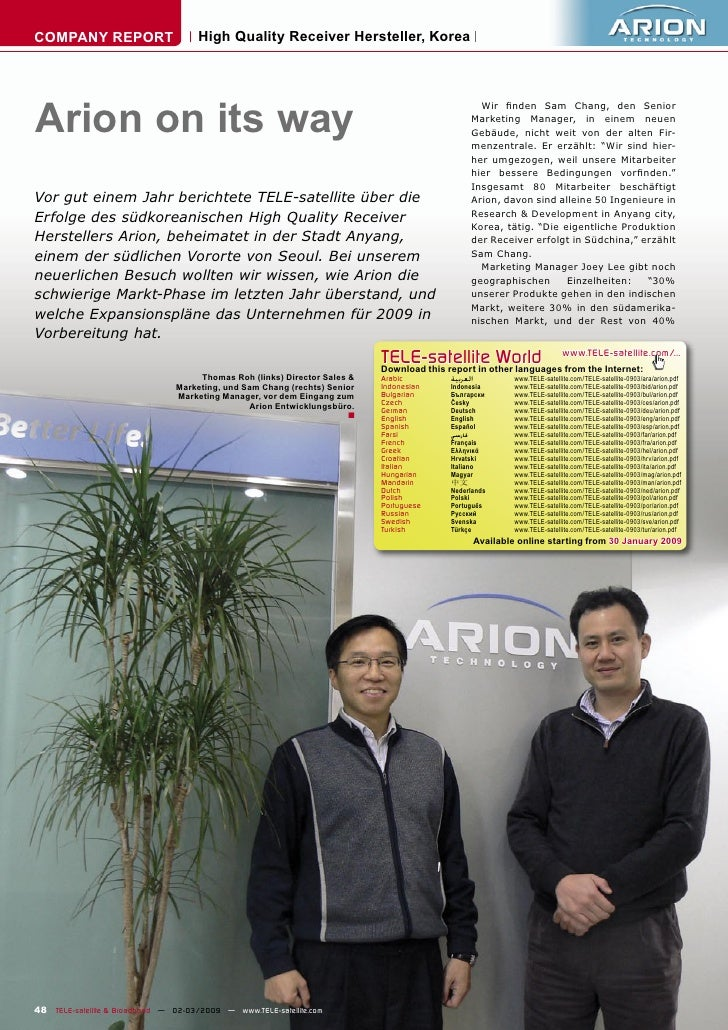 COMPANY REPORT                        High Quality Receiver Hersteller, Korea     Arion on its way                        ...