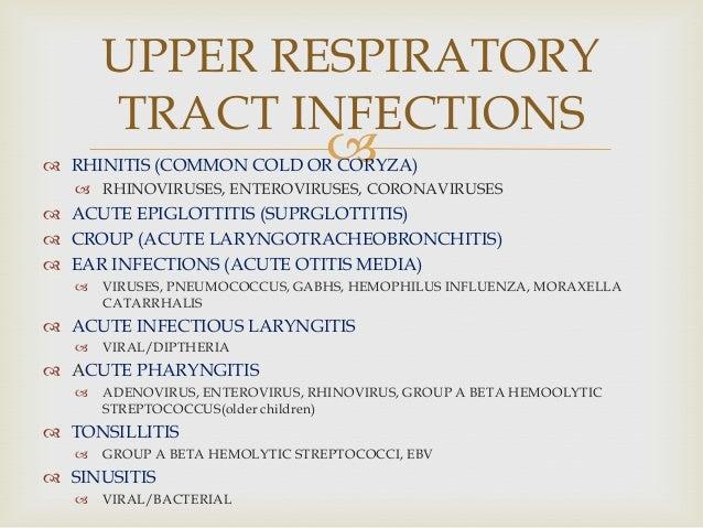  RHINITIS (COMMON COLD OR CORYZA)  RHINOVIRUSES, ENTEROVIRUSES, CORONAVIRUSES  ACUTE EPIGLOTTITIS (SUPRGLOTTITIS)  CR...