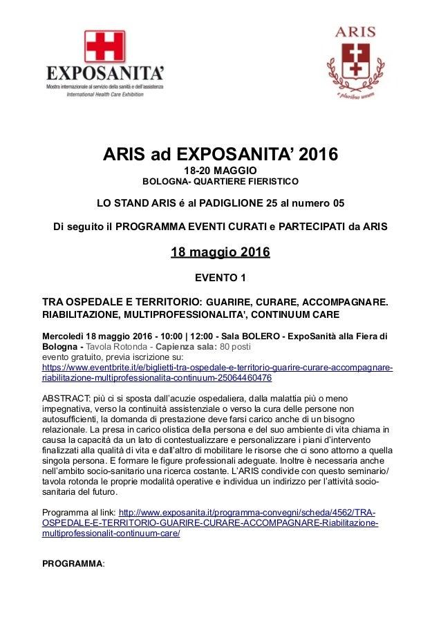 ARIS ad EXPOSANITA' 2016 18-20 MAGGIO BOLOGNA- QUARTIERE FIERISTICO LO STAND ARIS é al PADIGLIONE 25 al numero 05 Di segui...