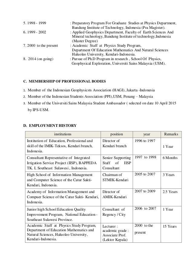 arisona curriculum vitae  kendari indonesia