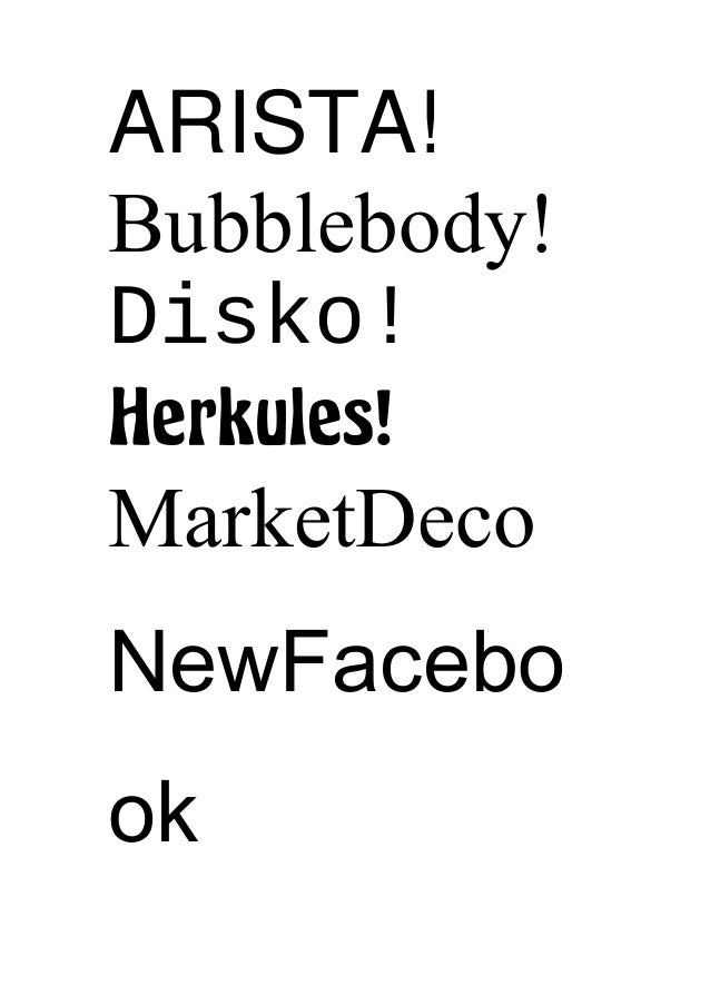ARISTA! Bubblebody! Disko! Herkules! MarketDeco NewFacebo ok