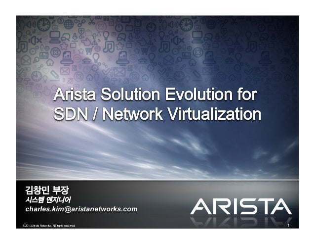 1© 2013 Arista Networks. All rights reserved. 김창민 부장 시스템 엔지니어 charles.kim@aristanetworks.com