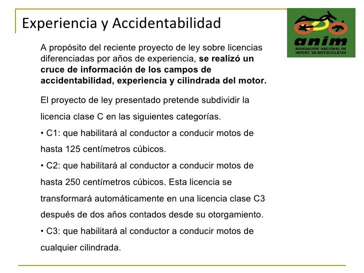 Experiencia y Accidentabilidad A propósito del reciente proyecto de ley sobre licencias  diferenciadas por años de experie...