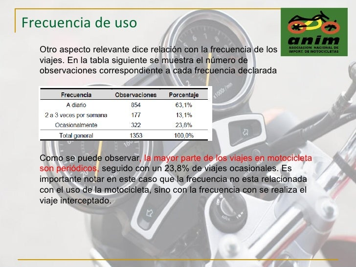 Frecuencia de uso Otro aspecto relevante dice relación con la frecuencia de los viajes. En la tabla siguiente se muestra e...