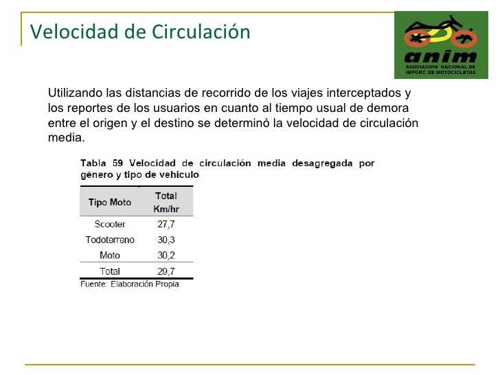 Velocidad de Circulación Utilizando las distancias de recorrido de los viajes interceptados y los reportes de los usuarios...