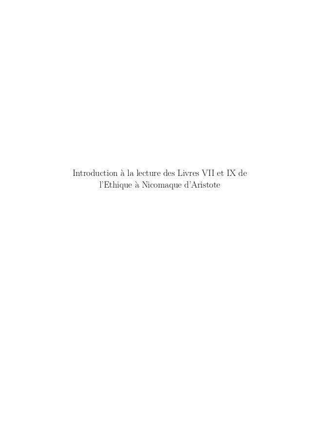 Introduction `a la lecture des Livres VII et IX de l'Ethique `a Nicomaque d'Aristote