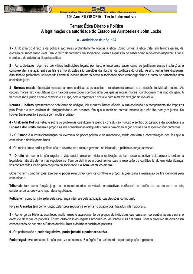 10º Ano FILOSOFIA –Texto Informativo                                         Temas: Ética Direito e Política              ...