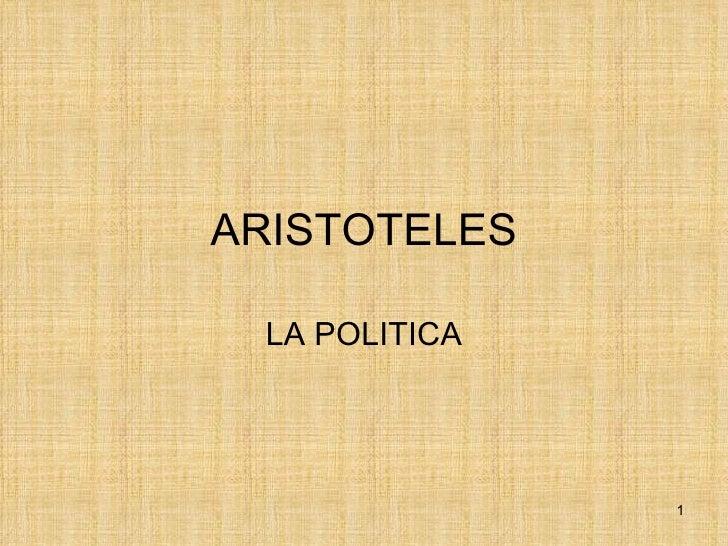 ARISTOTELES LA POLITICA               1