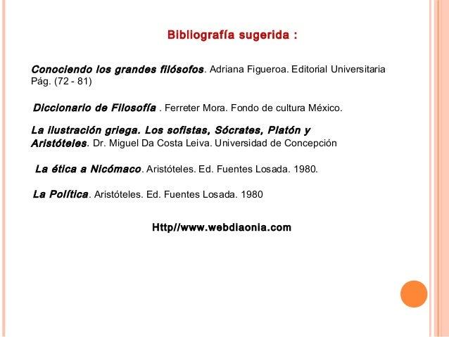 Bibliografía sugerida : Conociendo los grandes filósofos. Adriana Figueroa. Editorial Universitaria Pág. (72 - 81) Diccion...