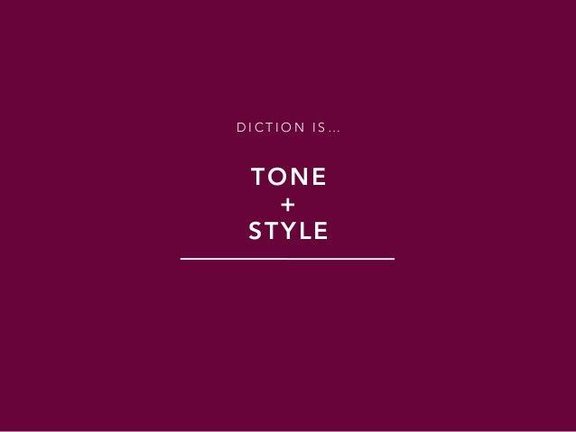 D I C T I O N I S … TONE + STYLE