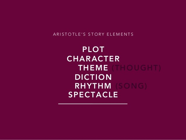 PLOT A R I S T O T L E ' S S T O R Y E L E M E N T S CHARACTER THEME DICTION RHYTHM SPECTACLE (THOUGHT) (SONG)