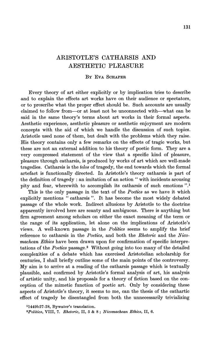aristotles concept of catharsis Keywords: catharsis, music, mousike, paideia, aristotle's politics oxford scholarship online requires a subscription or purchase to access the full text of books within the service public users can however freely search the site and view the abstracts and keywords for each book and chapter.