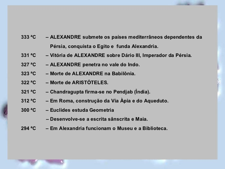 <ul><ul><li>333 ªC  – ALEXANDRE submete os países mediterrâneos dependentes da  </li></ul></ul><ul><ul><li>Pérsia, conquis...