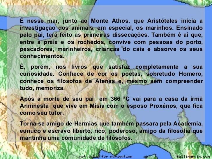 <ul><ul><li>É nesse mar, junto ao Monte Athos, que Aristóteles inicia a investigação dos animais, em especial, os marinhos...