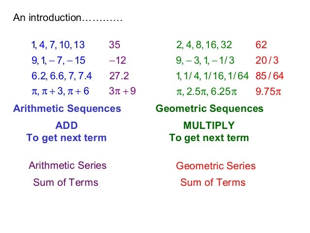 arithmetic sequences and series Sequences and series  part 1: arithmetic sequences the sequence we saw in the previous paragraph is an example of what's called an arithmetic sequence:.