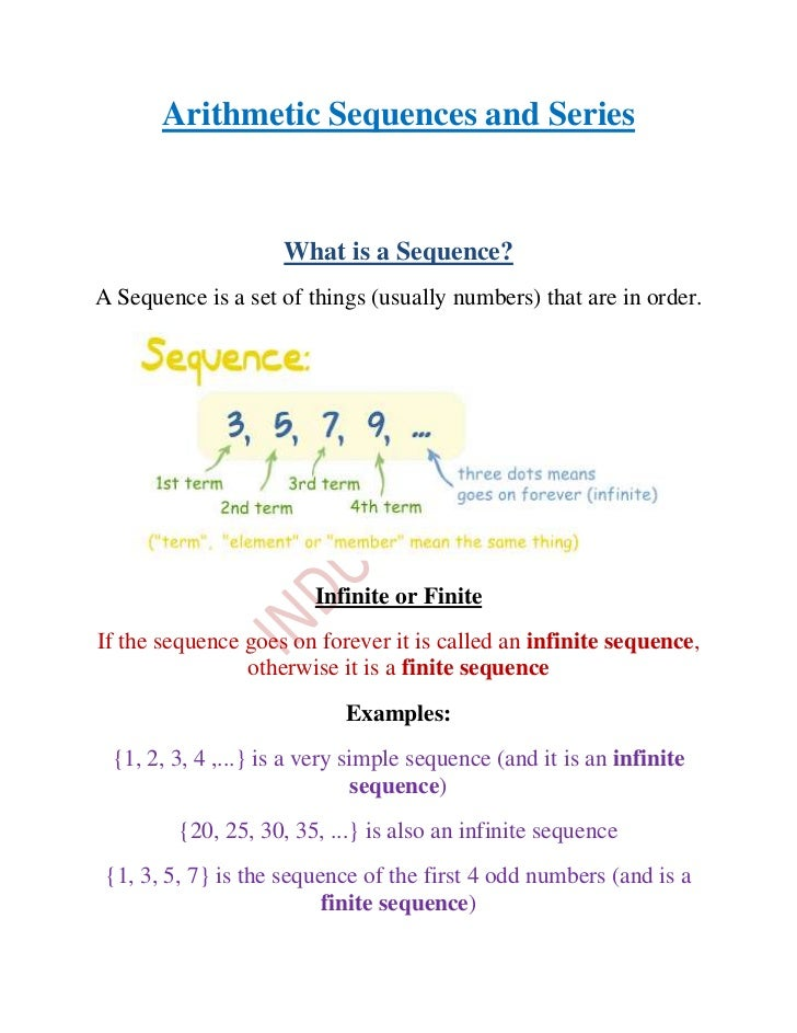 Arithmetic sequences and series 1 – Arithmetic Sequences Worksheet