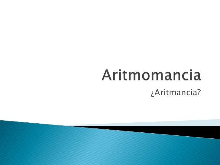 ¿Aritmancia?