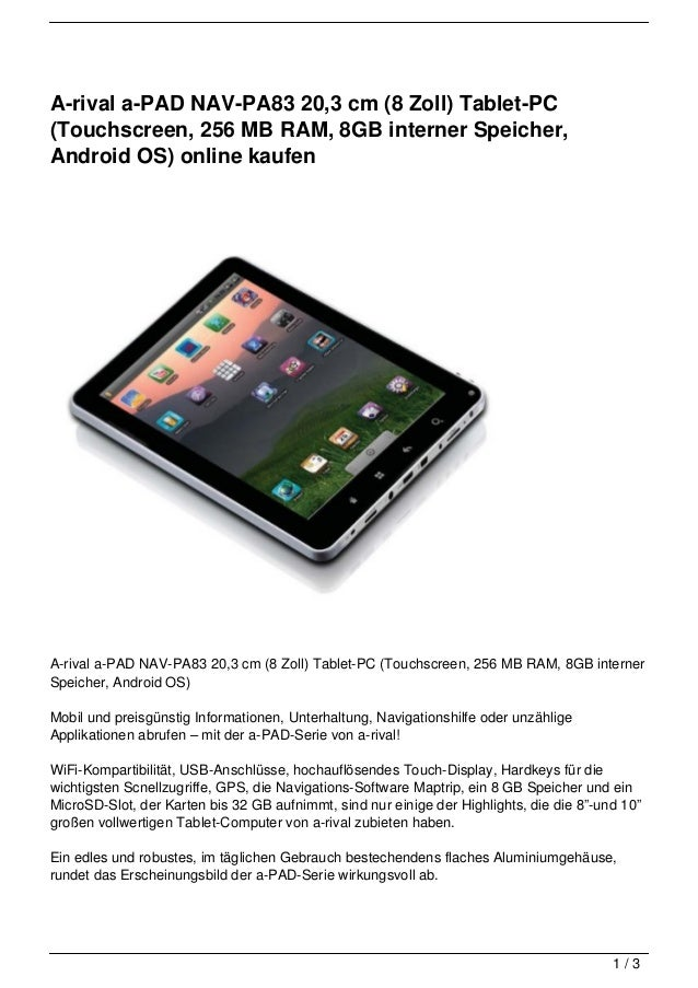 A-rival a-PAD NAV-PA83 20,3 cm (8 Zoll) Tablet-PC(Touchscreen, 256 MB RAM, 8GB interner Speicher,Android OS) online kaufen...