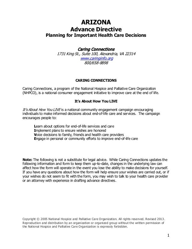 1 ARIZONA Advance Directive Planning For Important Health Care Decisions  Caring Connections 1731 King St. ...