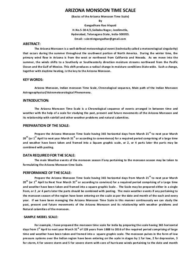 ARIZONA MONSOON TIME SCALE (Basics of the Arizona Monsoon Time Scale) By Gangadhara Rao Irlapati H.No.5-30-4/1,Saibaba Nag...