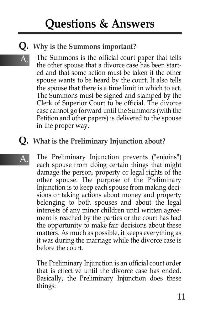 Responding to divorce summons