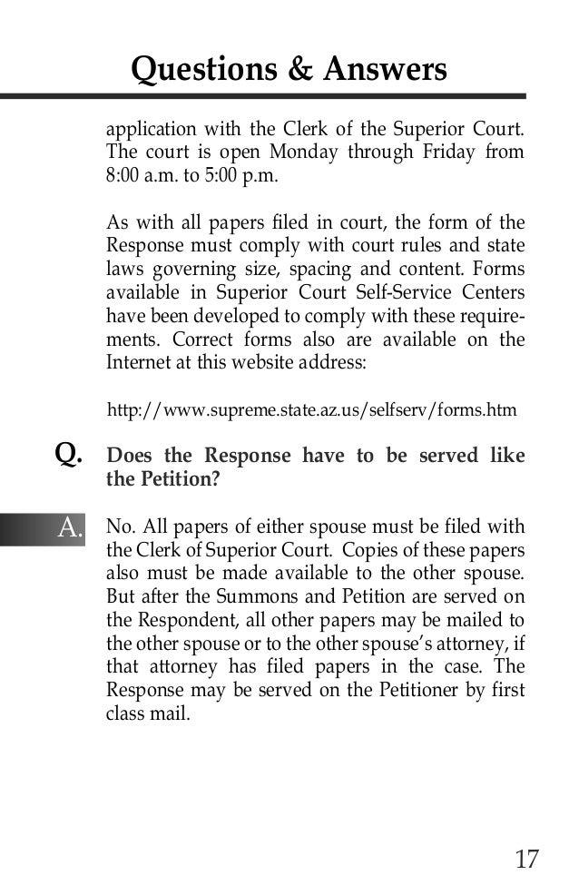 Arizona supreme court divorce booklet – Superior Service Application Form