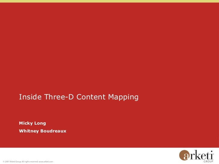 Inside Three-D Content Mapping Micky Long Whitney Boudreaux