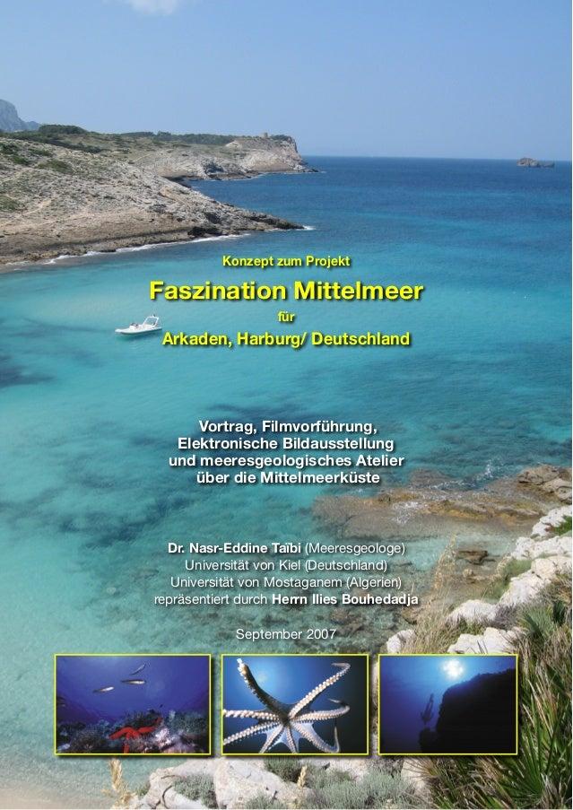 Konzept zum Projekt Faszination Mittelmeer für Arkaden, Harburg/ Deutschland Vortrag, Filmvorführung, Elektronische Bildau...