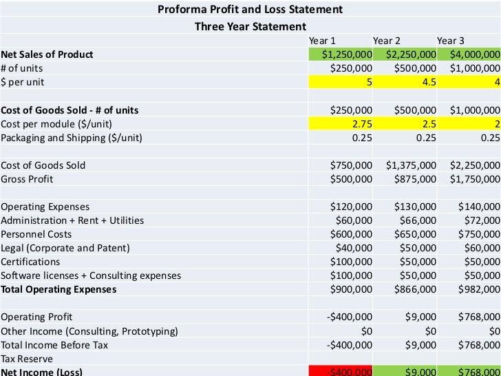 proforma profit and loss statement