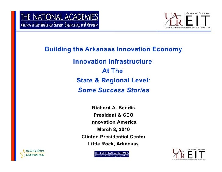 Building the Arkansas Innovation Economy         Innovation Infrastructure                  At The          State & Region...