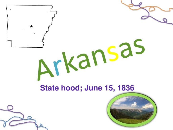 State hood; June 15, 1836