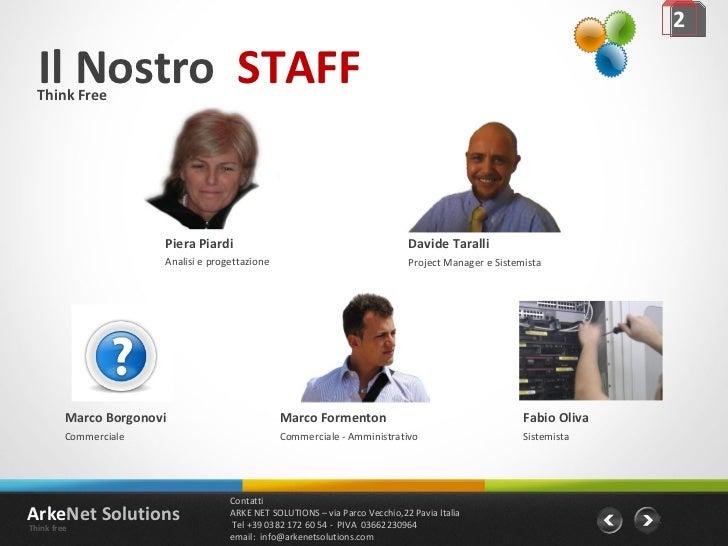 Il Nostro  STAFF 2 Think Free Piera Piardi Analisi e progettazione Davide Taralli Project Manager e Sistemista Fabio Oliva...