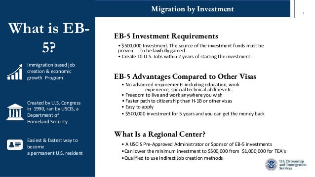 1 Migration by Investment What is EB- 5? Immigration based job creation & economic growth Program Created by U.S. Congress...