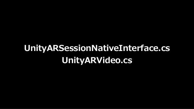 ARKit Unity AR空間の カメラの位置 の推定 AR空間の 平⾯の位置 の推定 iPhoneの カメラに 合わせた画⾓ AR空間の 平⾯の HitTest AR空間の 明るさ UnityARSessionInterface Unity...