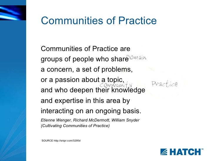 communities of practice cop 288 christopher hoadley feature-based definition of community of practice the first, feature-based definition comes from the words themselves: a community that shares practices.