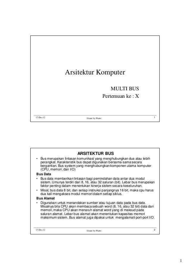 Arsitektur Komputer MULTI BUS Pertemuan ke : X  17-Dec-12  Create by Warto  1  ARSITEKTUR BUS • Bus merupakan lintasan kom...