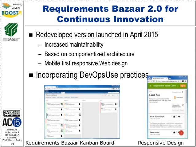 Lehrstuhl Informatik 5 (Information Systems) Prof. Dr. M. Jarke 23 Learning Layers Requirements Bazaar 2.0 for Continuous ...