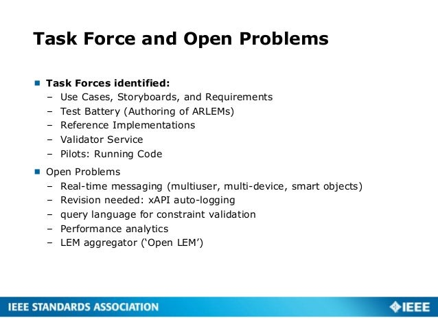 Task Force and Open Problems  Task Forces identified: – Use Cases, Storyboards, and Requirements – Test Battery (Authorin...