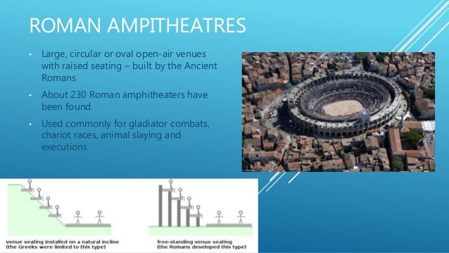 ROMAN AMPITHEATRES • Large, circular or oval open-air venues with raised seating – built by the Ancient Romans • About 230...