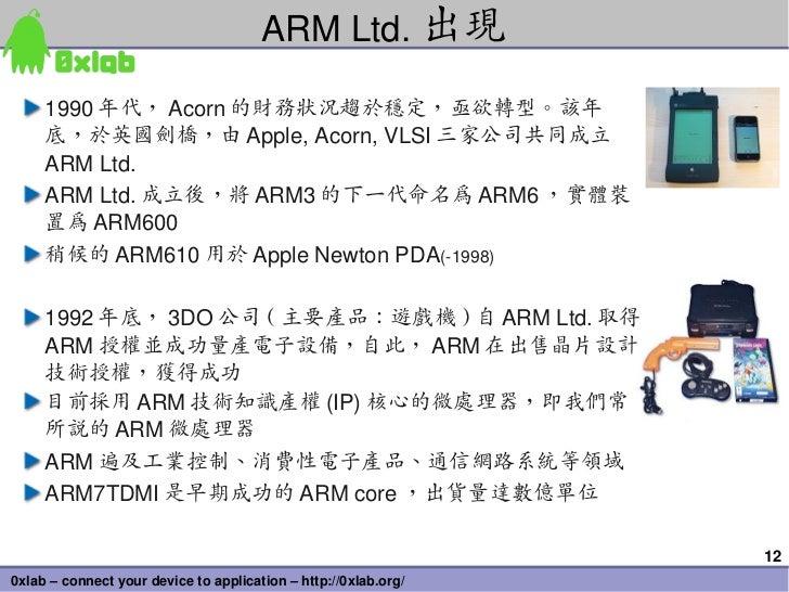 ARMLtd. 出現     1990 年代, Acorn 的財務狀況趨於穩定,亟欲轉型。該年     底,於英國劍橋,由 Apple,Acorn,VLSI 三家公司共同成立     ARMLtd.     ARMLtd. 成立後,將...