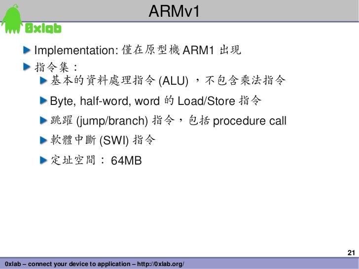 ARMv1          Implementation: 僅在原型機 ARM1 出現          指令集:            基本的資料處理指令 (ALU) ,不包含乘法指令               Byte,halfwo...