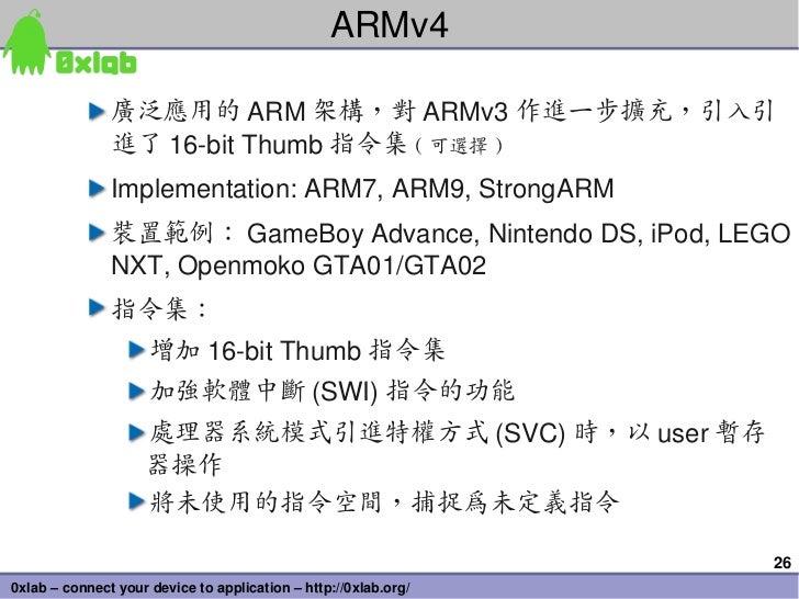 ARMv4               廣泛應用的 ARM 架構,對 ARMv3 作進一步擴充,引入引               進了 16bitThumb 指令集 ( 可選擇 )               Implementation...