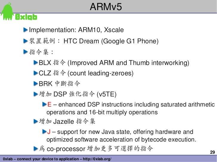 ARMv5              Implementation:ARM10,Xscale              裝置範例: HTCDream(GoogleG1Phone)              指令集:         ...