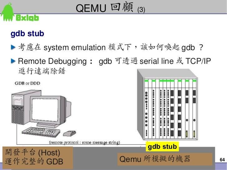 QEMU 回顧 (3)  gdbstub     考慮在 systememulation 模式下,該如何喚起 gdb ?     RemoteDebugging : gdb 可透過 serialline 或 TCP/IP     進行遠...