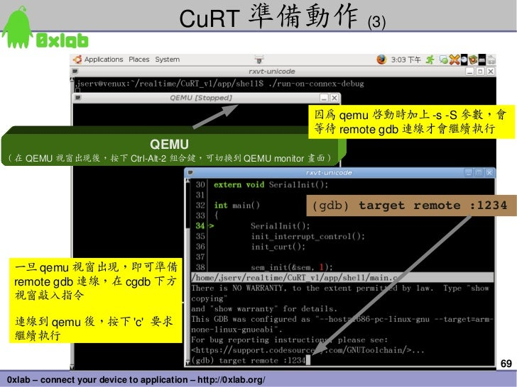CuRT 準備動作 (3)                                                                 因為 qemu 啟動時加上 sS 參數,會                    ...