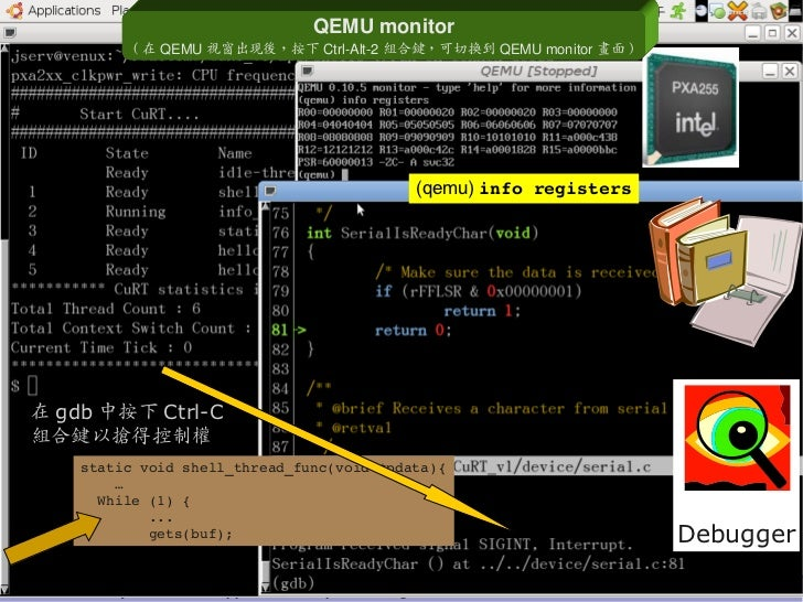 QEMUmonitor                  ( 在 QEMU 視窗出現後,按下 CtrlAlt2 組合鍵,可切換到 QEMUmonitor 畫面 )                                     ...