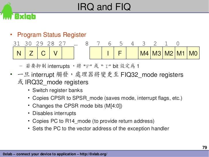 IRQandFIQ    • ProgramStatusRegister     31 30 29 28 27 … 8                                7         6   5   4   3  ...