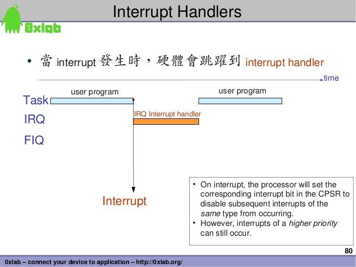 InterruptHandlers       • 當 interrupt 發生時,硬體會跳躍到 interrupthandler                                                      ...