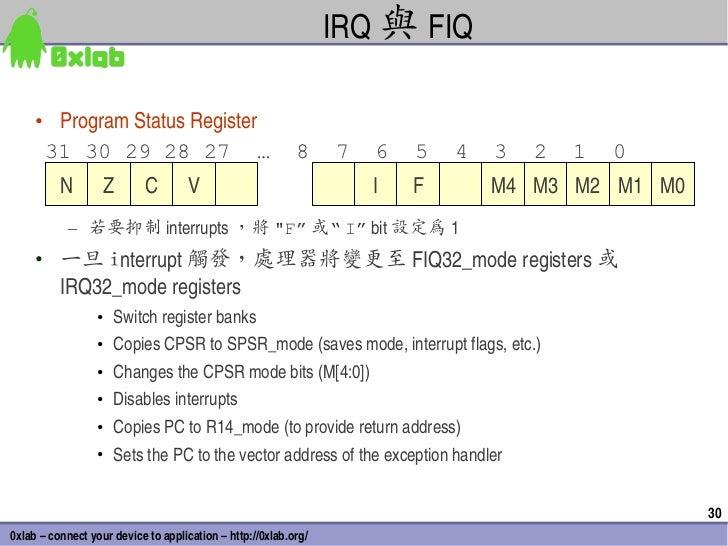 IRQ 與 FIQ     • ProgramStatusRegister      31 30 29 28 27 …                                     8     7   6   5   4   3...